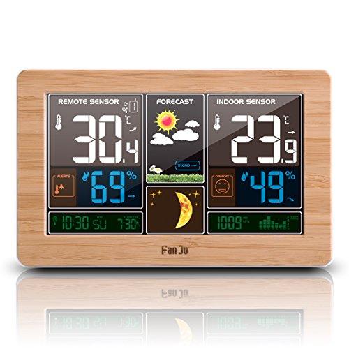FanJu FJ3378W Funkwetterstation Funk mit Außensensor/USB-Ladeanschluss/Innen-/Außentemperatur und...