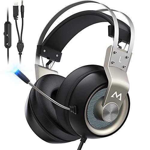 Mpow EG3 Pro Gaming Headset für PS4/PS5/PC/Xbox One/Mac/Switch, Virtual 7.1 Surround Sound, 3.5mm USB...