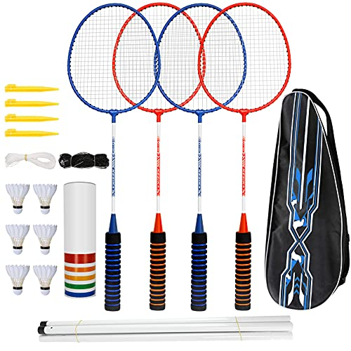 trounistro Badmintonschläger Set, 4 Spieler Badmintonschläger mit 6 Federbällen, Federball Set Komplettes...