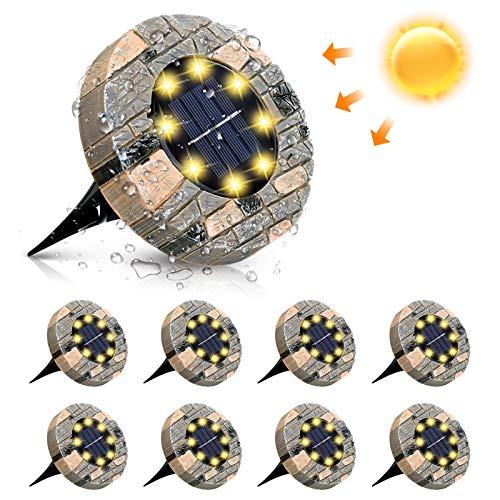 Solarleuchten, GLIME Solar Bodenleuchte 8er Set Gartenleuchte für Außen mit 8 LEDs, IP65 Wasserdicht...