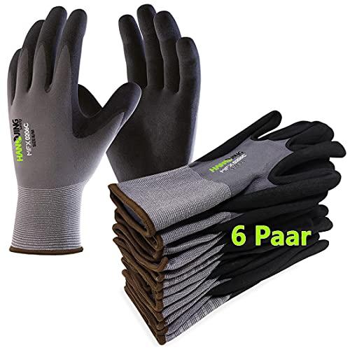 Gentle Monkey 6Paar Arbeitshandschuhe Nitril beschichtet Schutzhandschuh Ergonomisches Design Gartenhandschuhe...