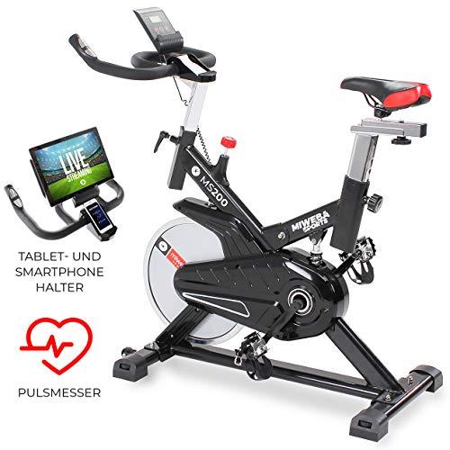 Miweba Sports Indoor Cycling MS200 Fitnessbike - 13 Kg Schwungmasse - Stufenfreie Widerstandsverstellung -...