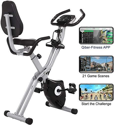 ANCHEER Fitness Bike mit APP, 3in1 Faltbarer Heimtrainer mit Rückenlehne & integriertem...