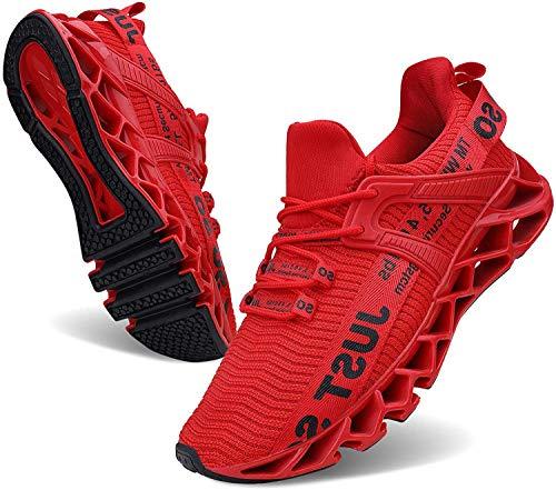 JSLEAP Laufende Tennisschuhe der athletischen gehenden Klingen der Männer Mode-Turnschuhe (2 Rot,Größe 41...