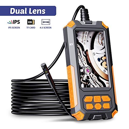 ILIHOME Dual-Kameras Endoskopkamera, Doppelkamera Dual Lens 4,5 Zoll IPS Bildschirm Endoskop, 8 Einstellbaren...