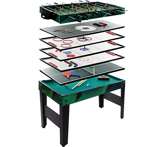 Anaterra Multigame Spieletisch 10 in 1, Kickertisch Tischfußball, Billardtisch, Tischtennis, Schach, Hockey -...