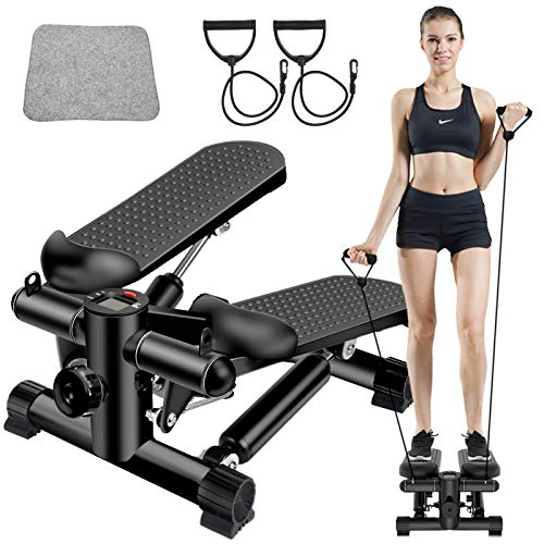 BSET BUY Mini Stepper,Twister Stepper mit Power Ropes,Stepper für Zuhause,Step Fitnessgeräte Verstellbare...