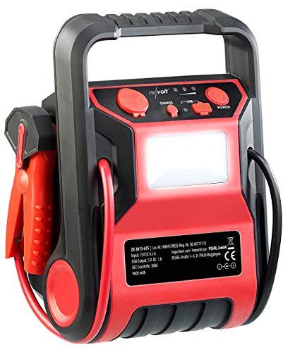 REVOLT Powerpack Starthilfe: 5in1-Starthilfe-Powerbank & Kompressor, USB, 12V 9.000mAh, 600A 250psi (Druckluft...