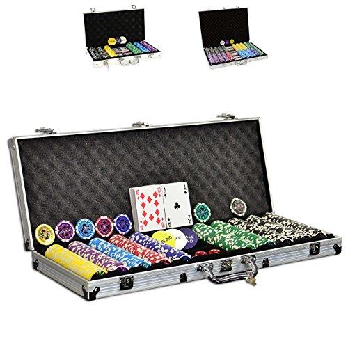 SONLEX Pokerkoffer mit 300 500 1000 Laser Pokerchips 12 g abschließbar Pokerkarten Zubehör Deluxe Pokerset...
