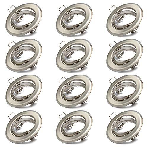 12x Einbaustrahler GU10 Set – 12 Stück Einbaurahmen in Edelstahl gebürstet Optik Inkl. GU10 Fassung für...