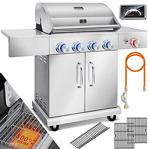 KESSER® Gasgrill Master BBQ mit 800°C Infrarot & Grill-Thermometer, LED-Beleuchtung, Keramik 4+1 Brenner aus...