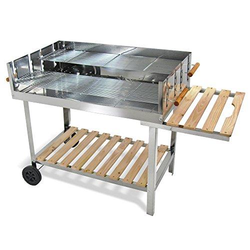 JOM Edelstahl Barbecue Holzkohle Grill Grillwagen BBQ 136 x 60 x 93 cm Mega XXL