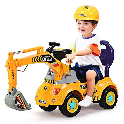 GOPLUS Schaufelbagger Spielzeug für Kleinkinder, Sitzbagger Sandspielzeug mit LED-Licht mit Musik, Digger...
