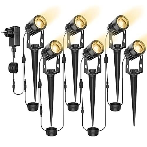 LITAKE Gartenbeleuchtung, 6 Stücke Extendable Gartenleuchte 3W COB LED Gartenstrahler mit Erdspieß und...