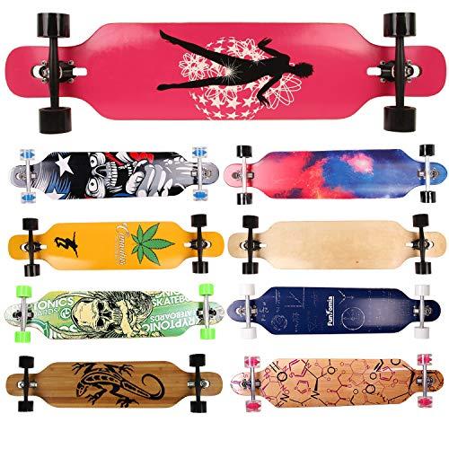 FunTomia Longboard Skateboard Drop Through Cruiser Komplettboard mit Mach1 High Speed Kugellager T-Tool mit...