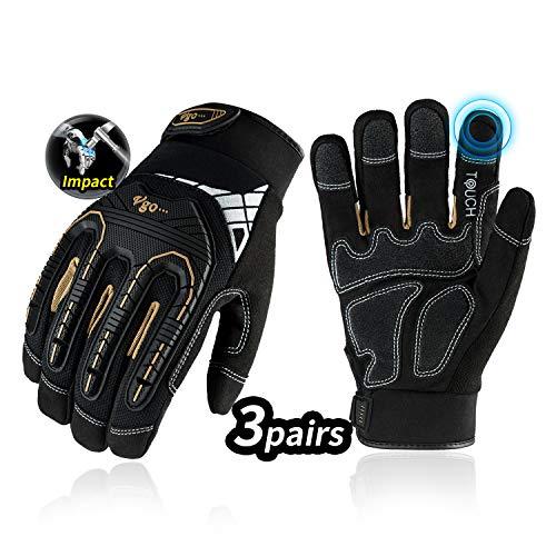 Vgo 3 Paare hohe Mechnische Arbeitshandschuhe, ffür große Belastungsarbeit, Vibration-Schutz-Handschuhe,...