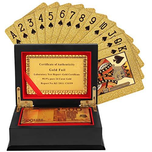 Spielkarten - Standard wasserdichte Plastikfolie Poker Karten mit hölzerner Geschenkbox für Zaubertricks...