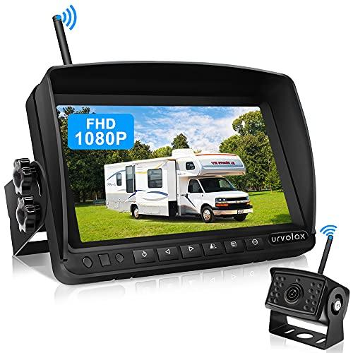 URVOLAX Rückfahrkamera Kabellos,7 inch Monitor und Parkkamera IP69K wasserdichte Auto Rückfahrkamera Funk,...