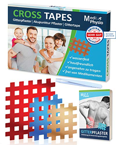 MediPhysio Gittertape Premium - Gitterpflaster Original - Innovatives Akupunkturpflaster inkl. Pinzette und...