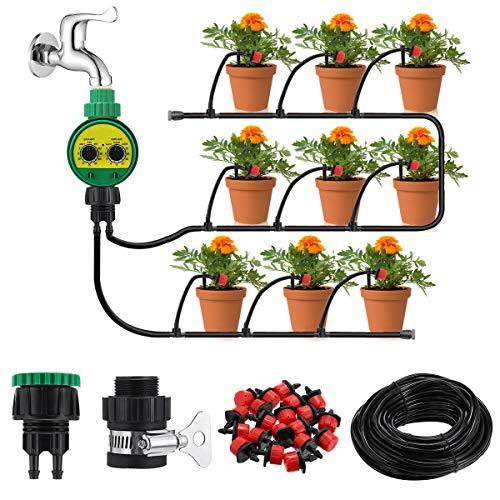 king do way Garten Bewässerungssystem Kit mit Timer System, 25m DIY Bewässerungs Tropfbewässerung Schlauch...