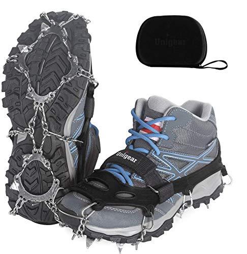 Unigear Steigeisen für Bergschuhe, mit 18 Zähnen, Schuhkrallen, Eisspikes, Schneekette, Grödel und Spikes...
