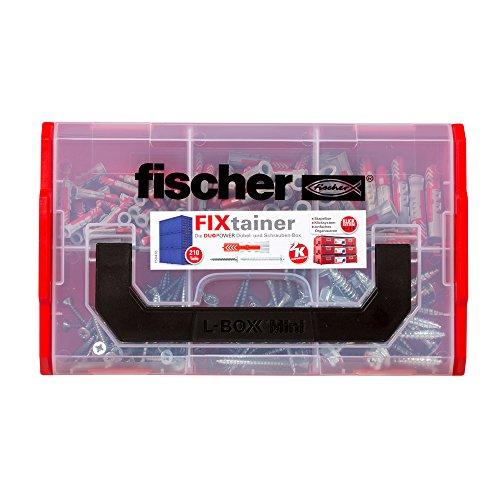 fischer FIXtainer DUOPOWER mit Schraube, Dübelbox mit 210 Schrauben & DUOPOWER Dübeln (60 Stk. 6 x 30, 30...