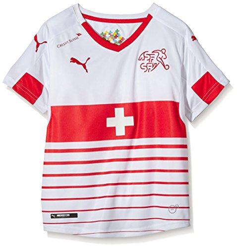 PUMA Kinder Trikot Suisse Away Replica Shirt, White-Red, 176