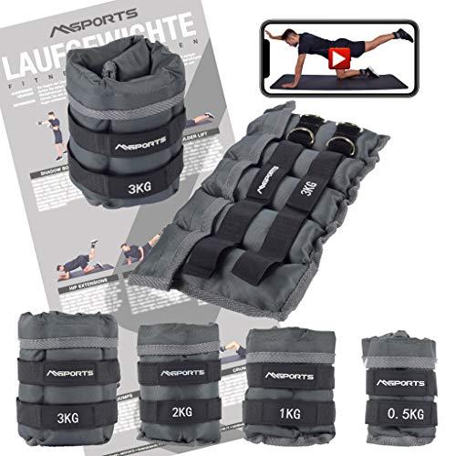 MSPORTS Gewichtsmanschetten Professional -einstellbar- Paar von 0,5-3 kg Fuß- und Hand-Gewichte inkl....