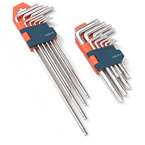 Presch Innensechskantschlüssel Set 18 teilig HX & TX - Profi Innensechskant Satz klein und kompakt mit...