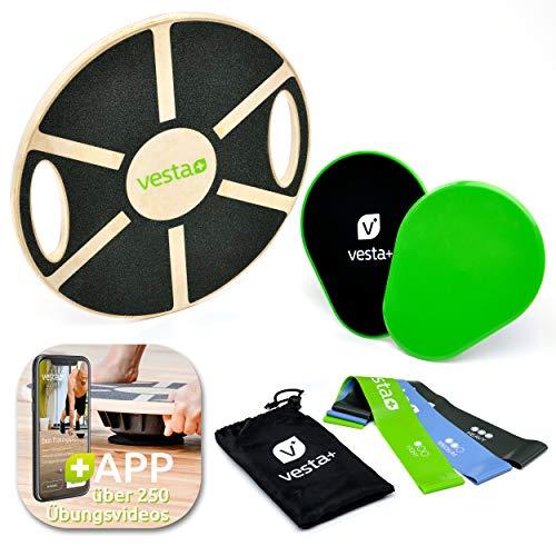Vesta+ Balance Board inkl. APP über 260 Übungen   Balanceboard mit Griffen, Widerstandsbänder, Slider,...