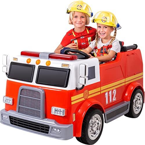 Actionbikes Motors Kinder Elektroauto Feuerwehr LL911 - 2 x 45 Watt Motor - Eva Vollgummireifen -...