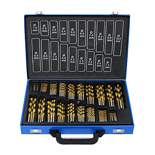 UISEBRT 170-tlg Metallbohrer Set 1-10mm DIN338 HSS Holzbohrer Satz Spiralbohrer Bohrersets für alle...