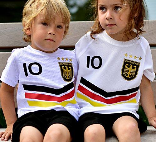 DE-Fanshop Deutschland Trikot Hose mit GRATIS Wunschname Nummer Wappen Typ #DV im EM/WM Weiss - Geschenke für...