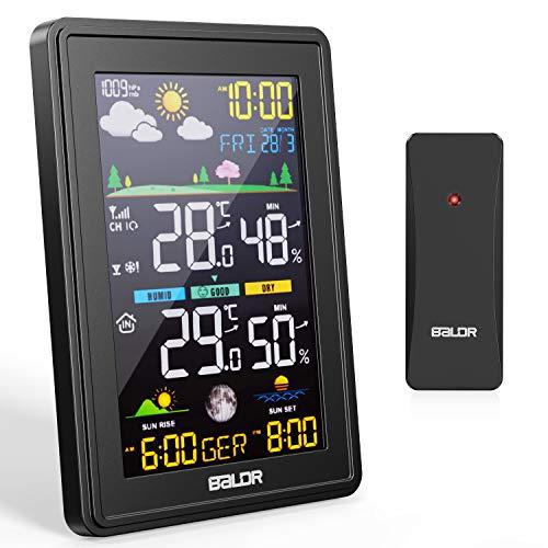 BALDR Wetterstation Funk mit Außensensor, Thermometer Hygrometer Digital Multifunktionale Funkwetterstation,...