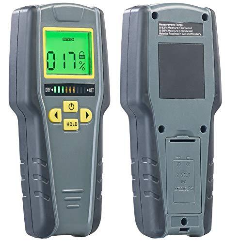 AGT Feuchtigkeitsmessgerät: Digitaler 4in1-Feuchtigkeits-Detektor mit Nicht-invasiver Messung, LCD...