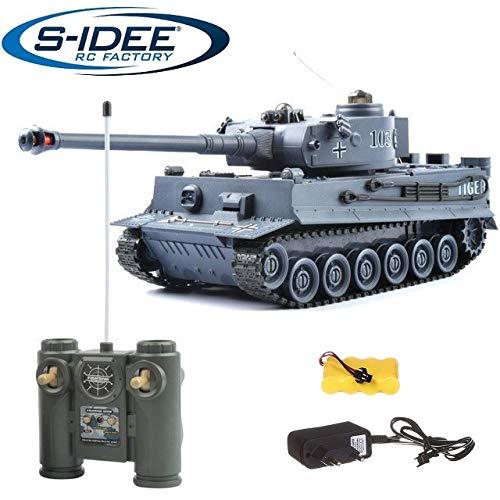 s-idee® 22002 Battle Panzer 99807 German Tiger 1:28 mit integriertem Infrarot Kampfsystem 2.4 Ghz RC R/C...
