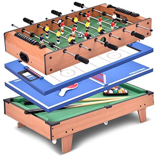 GOPLUS 4 in 1 Spieltisch Multifunktionsspieltisch Multispieltisch Kickertisch Hockeytisch Tischtennistisch...