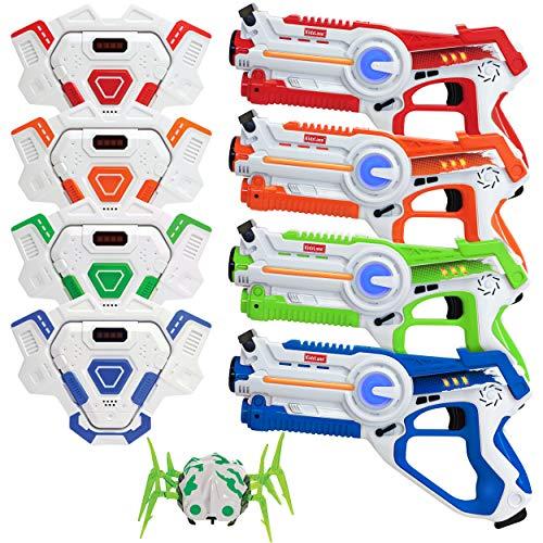 kidzlane Infrarot-Laser-Tag-Multiplayer-Spielset - Pack enthält 4 Lazer Guns + 4 Zielwesten + 1...