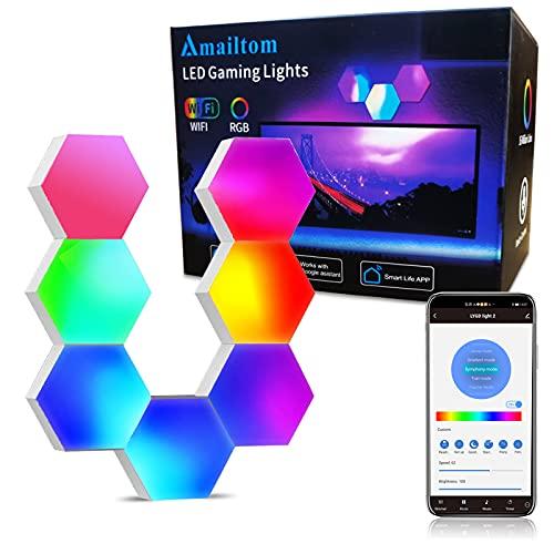 Sechseck Wandleuchte Funktioniert mit Alexa Google Assistant,WiFi Smart RGB Gaming Wandleuchte LED Leuchtpanel...