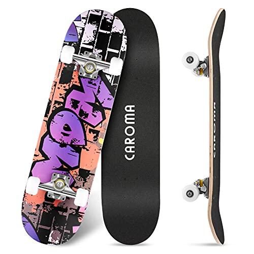 Skateboard für Anfänger,79cm×20cm Komplette Skate Boards,9 Lagigem Ahornholzdeck Double Kick Concave...