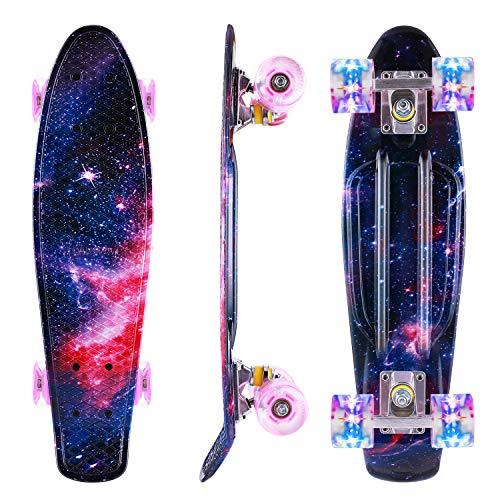 Caroma Skateboard für Mädchen Jungs, Penny Board, 22 Zoll/55cm komplettes Mini Cruiser Skateboard mit LED...
