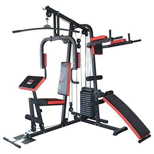 TrainHard® Kraftstation Multistation Fitnessstation Home Gym 65 kg Gewichten inkl. Dipstation Beinhebe,...