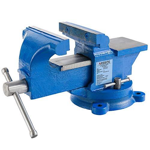 AREBOS Schraubstock 150 mm | 360° drehbar | Gusseisen | mit Amboss | Blau | Spannkraft 1,2 T