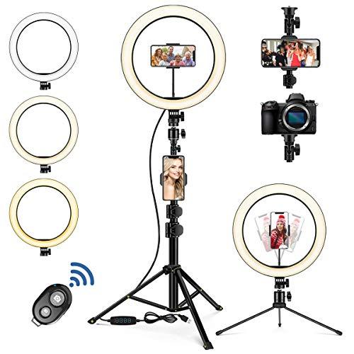 Hinshark LED Ringlicht mit Stativ Handy, 10 Zoll Selfie Ringlicht, LED Ringlicht mit 3 Farbmodi und 10...