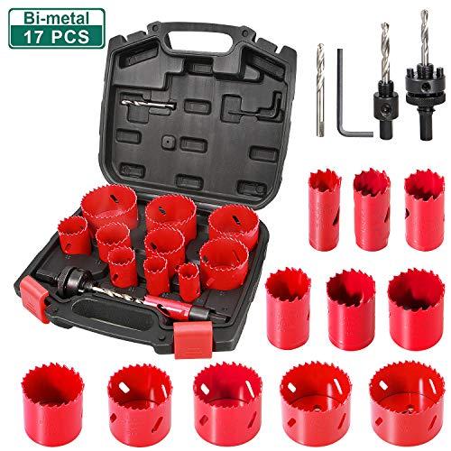 Bi-Metall Lochsäge, HYCHIKA 17 PCS Lochsäge Set mit 11 Sägeblättern 19mm-68mm, 2 Dornen, 3 Bohrern, 1...