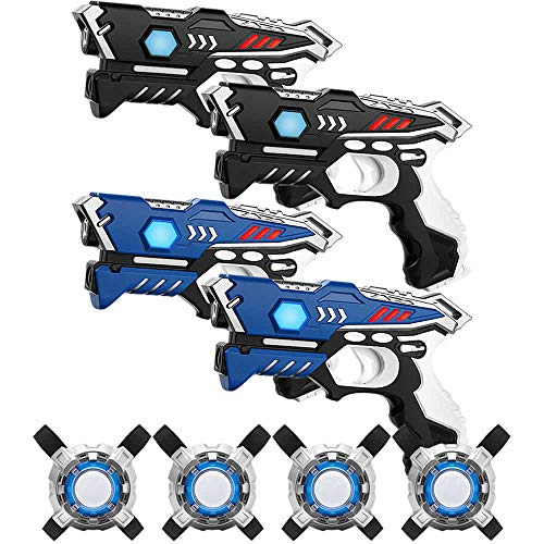 KidsFun Lasertag Set: 4 Laser Pistolen + 4 Laser Tag Weste - Laser Battle Set für Kinder Ab 7 Jahren