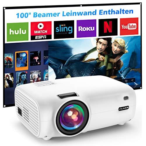 Mini Beamer, VILINICE 5500 Lumen Heimkino Beamer, Unterstützt 1080P Full HD, 100000 Stunden LED, LED Video...