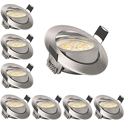 KSIPZE LED Einbaustrahler 6W 500LM Warmweiß 3000K 230V Dimmbar Einbaustrahler LED Spots Schwenkbar Deckenspot...