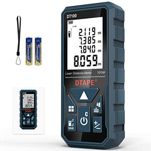 Entfernungsmesser, DTAPE DT100 100M Digitales Laser Entfernungsmesse mit LCD Hintergrundbeleuchtung M/In/Ft...