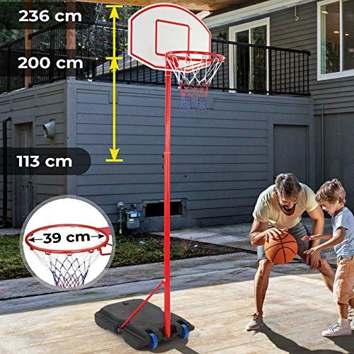 Infantastic Basketballständer mit Rollen - höhenverstellbar 113 bis 236 cm, für drinnen und draußen -...